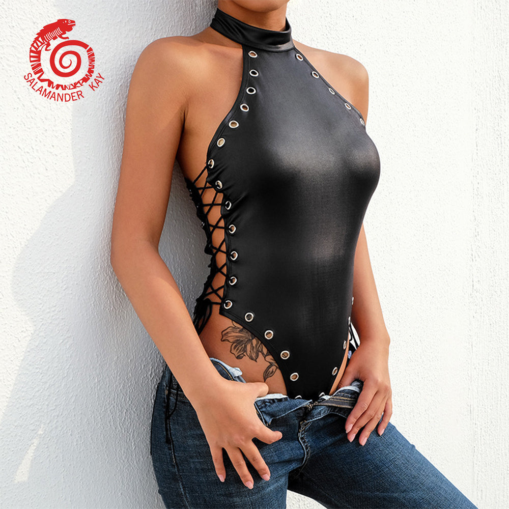 PU Leather Bodysuit - 4LAUNT.COM