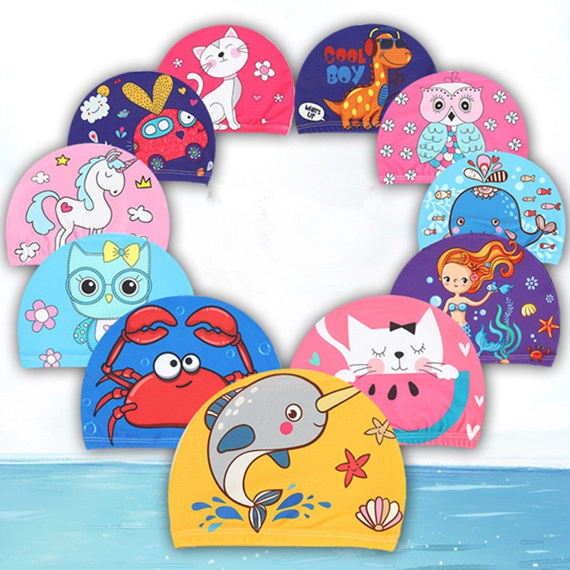 Children's Cartoon Elastic Fabric Printed Swimming Caps - 4LAUNT.COM