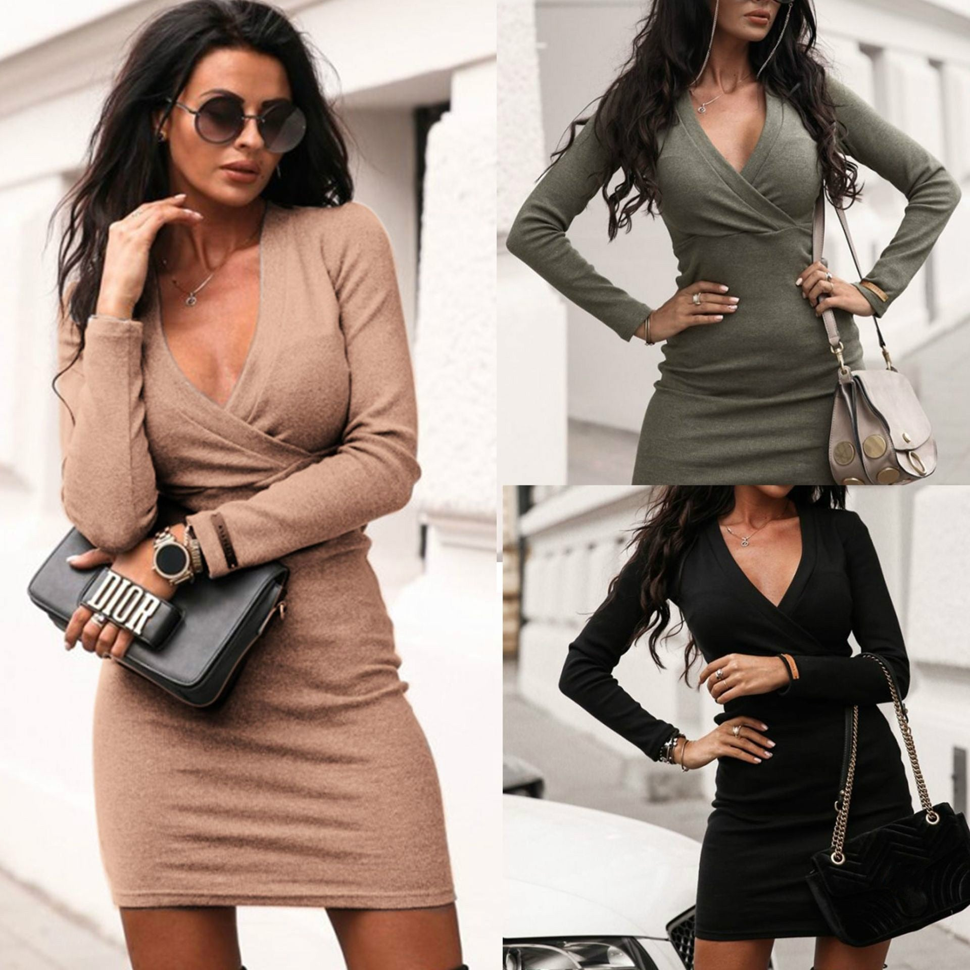 Low Cut Long Sleeve Bodycon Dress Sexy Dress - 4LAUNT.COM