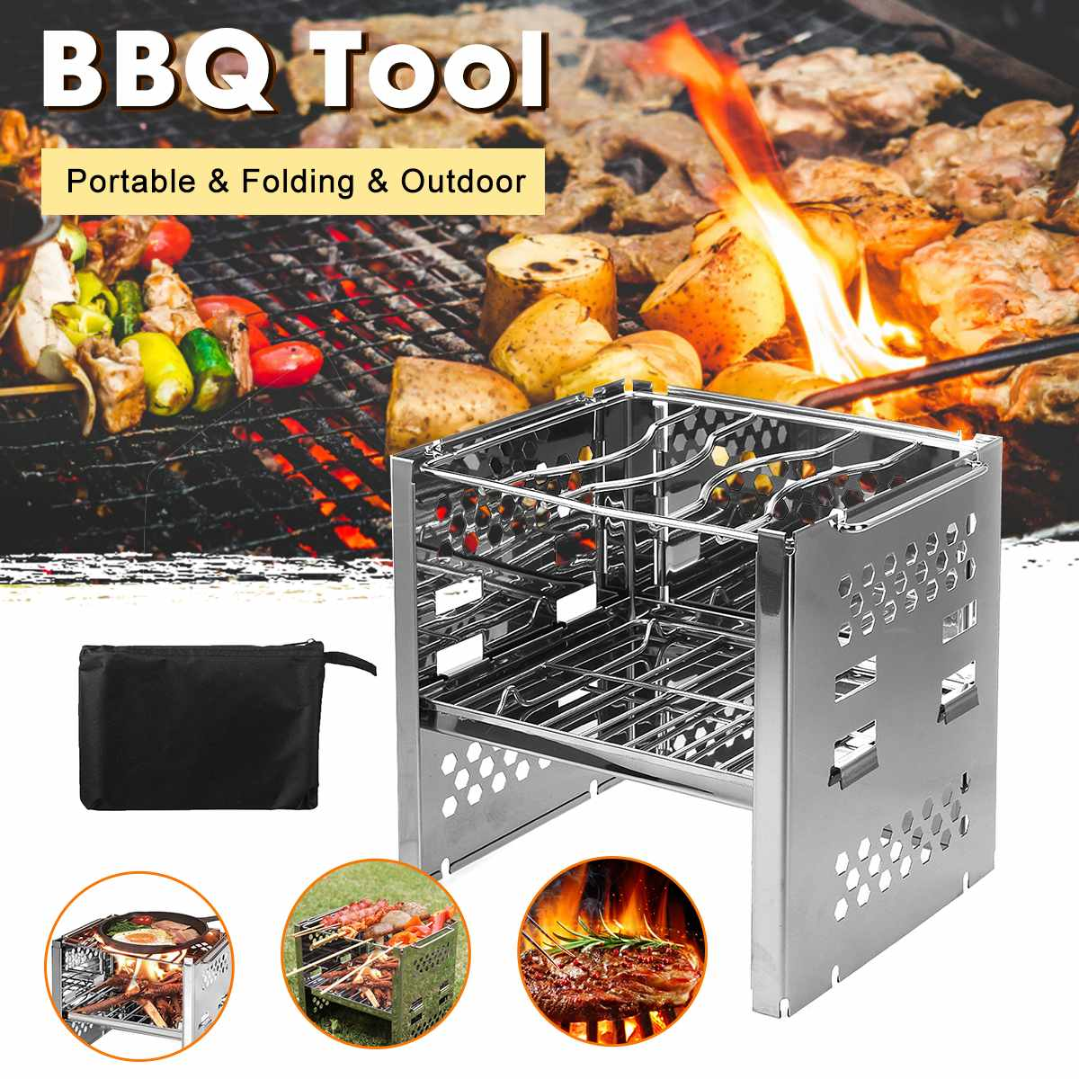Fold-able Stainless Steel BBQ Oven Burner - 4LAUNT.COM