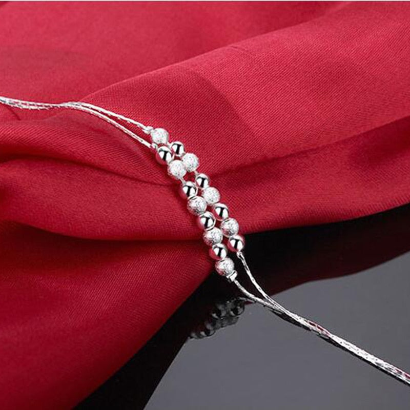 925 Sterling Silver Double Layer Ball Chain Ankle Bracelet - 4LAUNT.COM
