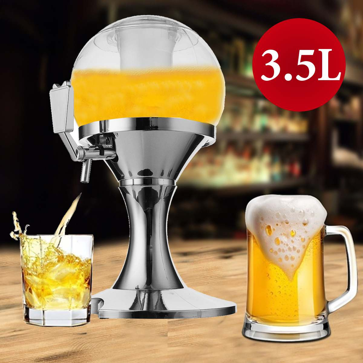 3.5L Tabletop Beer Tower With Ice Core Container
