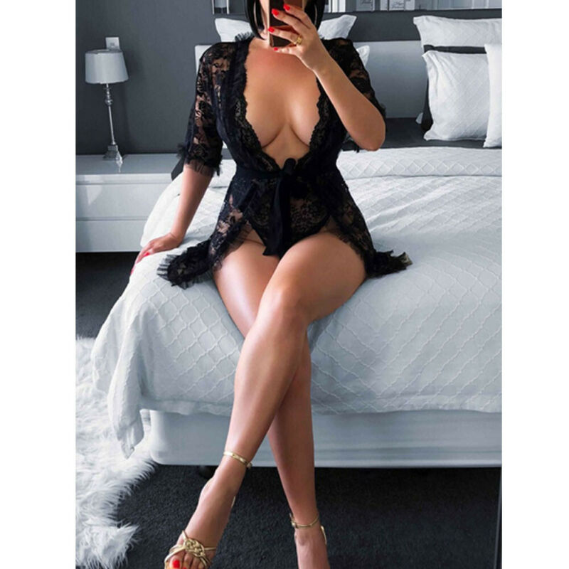 Women's Lace Deep V-Neck Negligee - 4LAUNT.COM