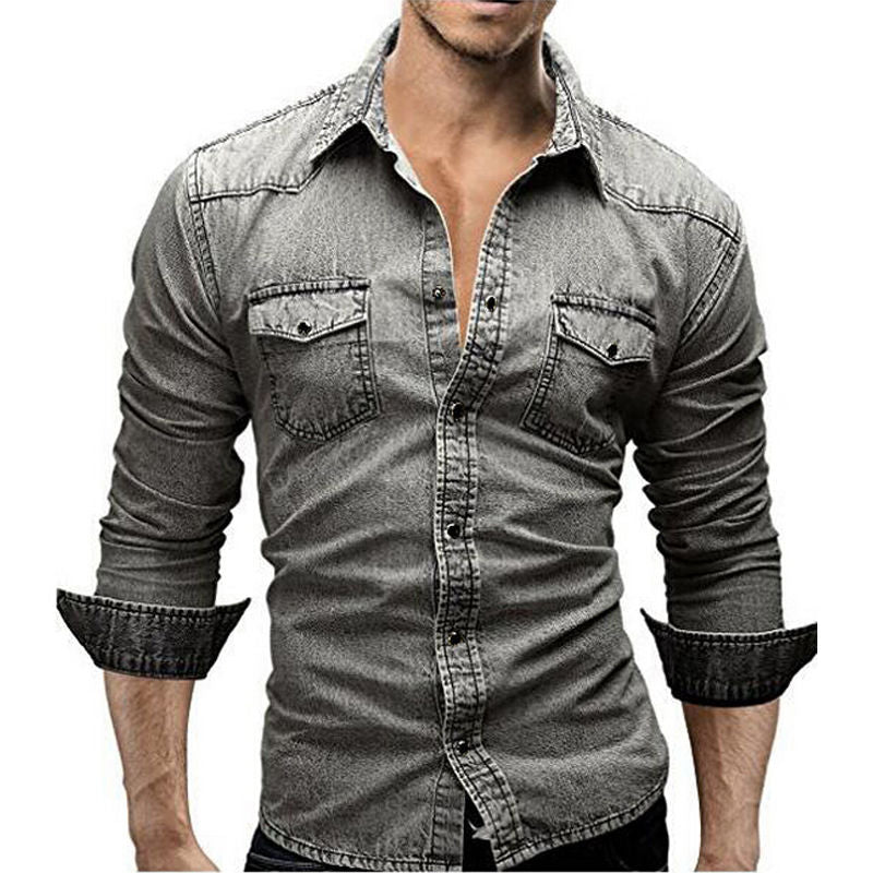 Men's Slim Fit Vintage Denim Shirt - 4LAUNT.COM