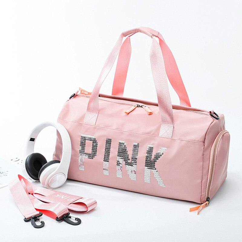 Pink Sequins Waterproof Gym Duffel Bag - 4LAUNT.COM