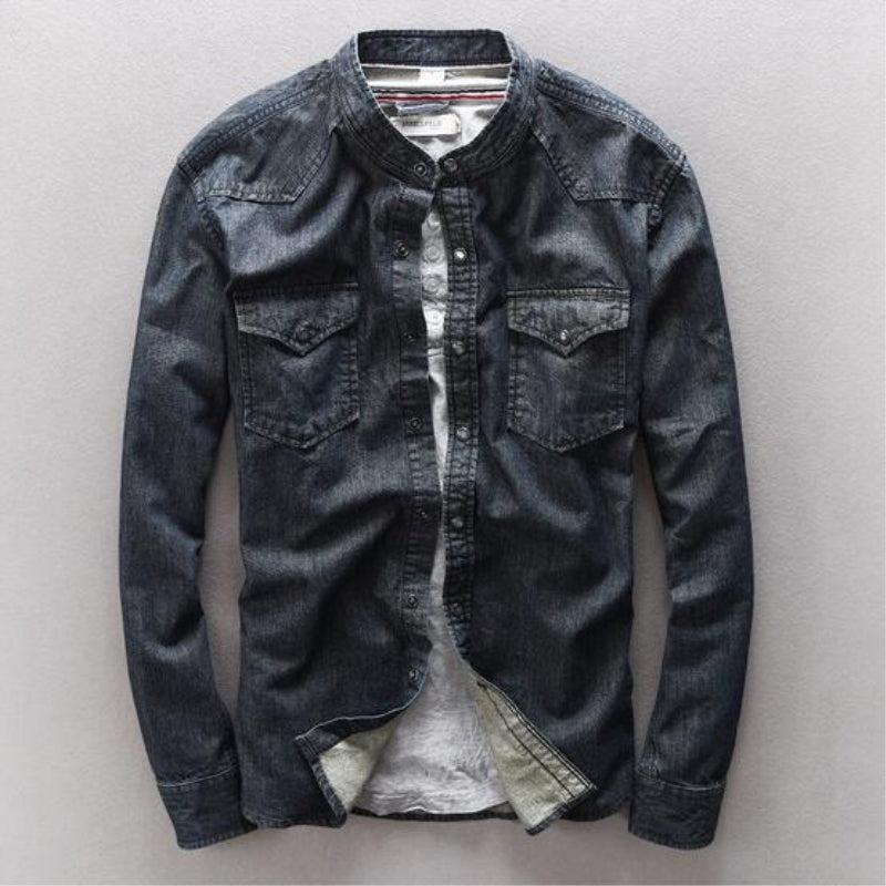Men Classic Vintage Slim Fit Bikers Denim Shirt - 4LAUNT.COM