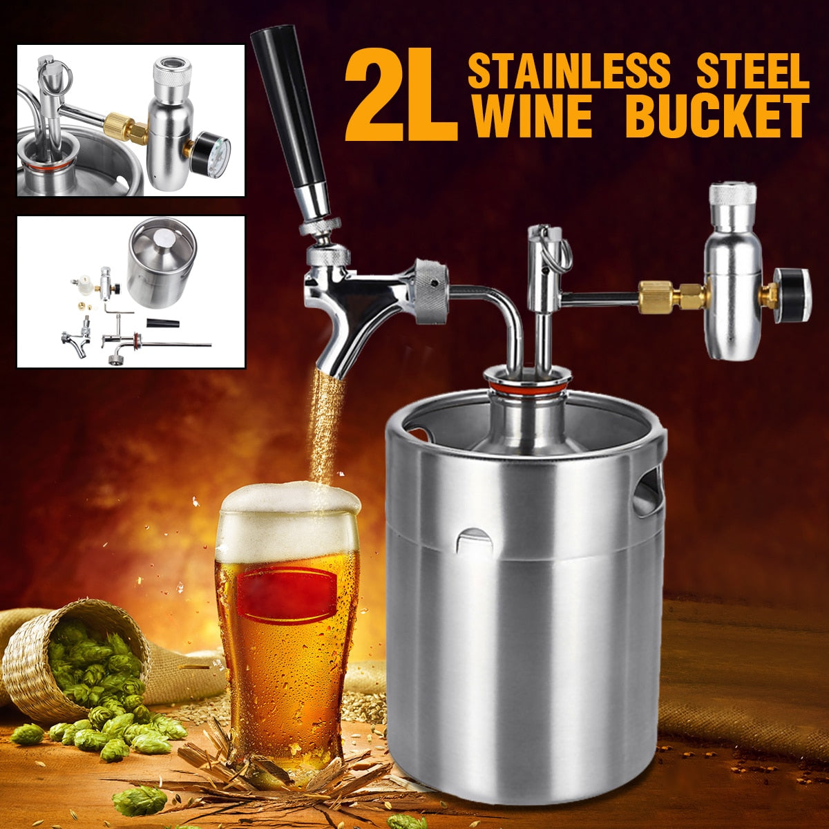 2L Stainless Steel Wine/Beer Home Keg