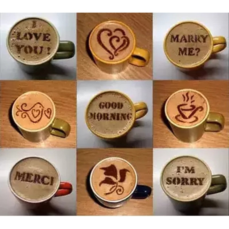 16Pcs Cappuccino Barista Art Stencils Set Incl. Duster