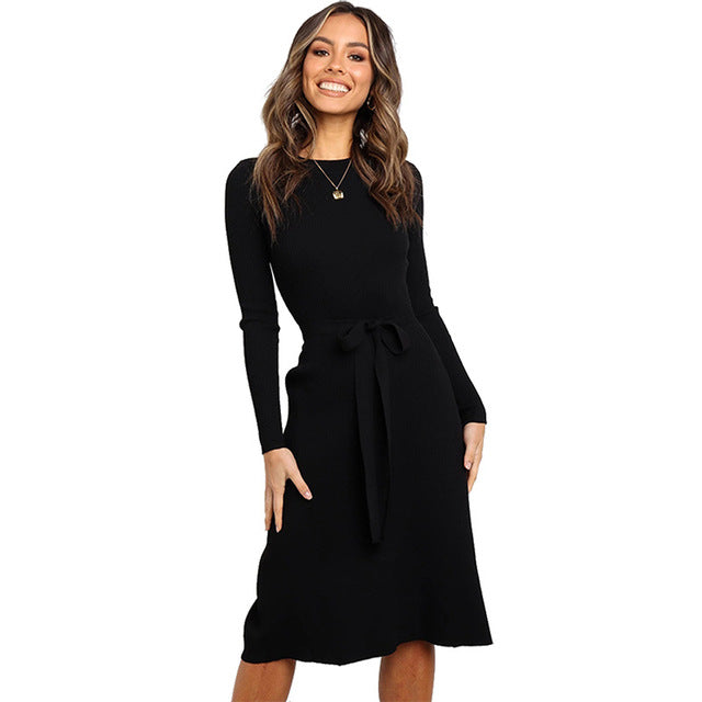 Elegant Ladies Long Sleeve O Neck Dress