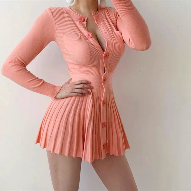 Ladies Knitted Slim Fit Pleated Dress