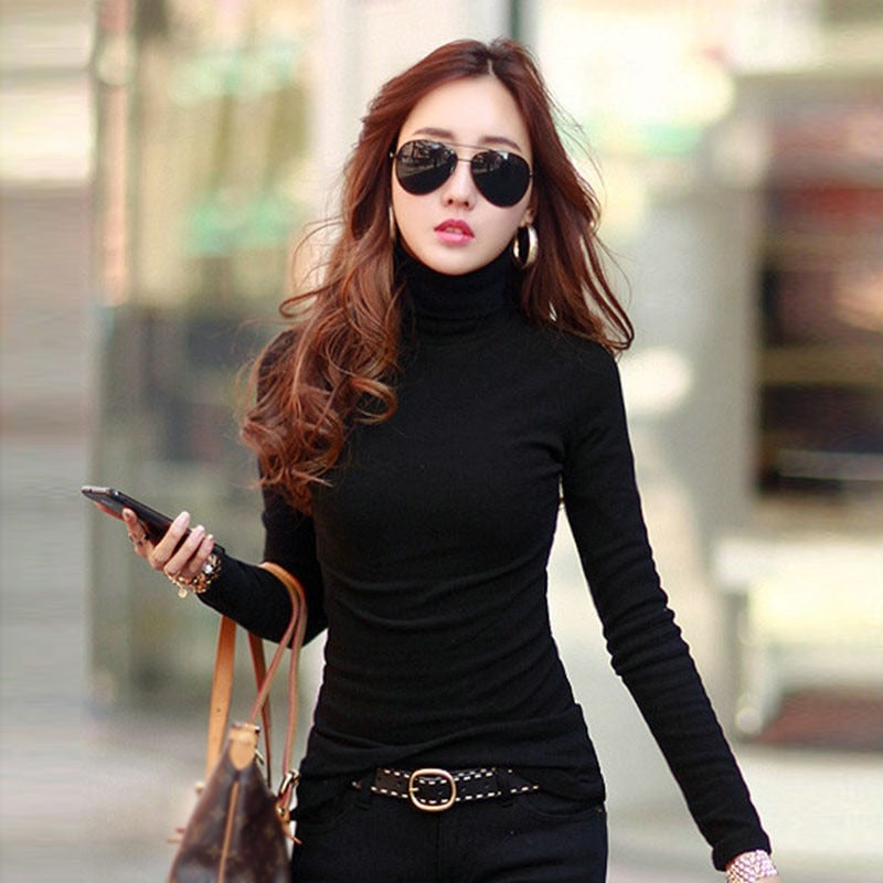 Women Long Sleeve Slim Turtle Neck Shirts - 4LAUNT.COM