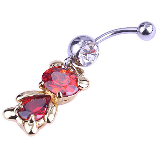 Rhinestone Teddy Belly Button Ring - 4LAUNT.COM