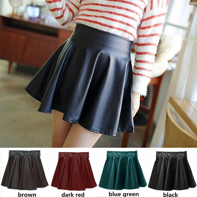 Woman's High Waist Elastic Faux Leather Vintage Skirts