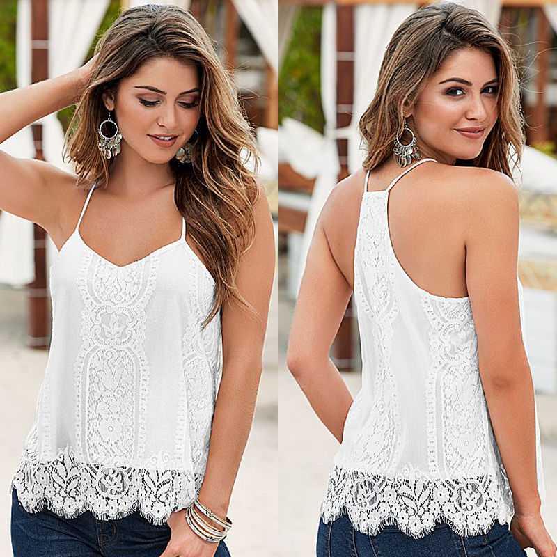 Women's Loose Casual Sleeveless Lace V Neck Top - 4LAUNT.COM