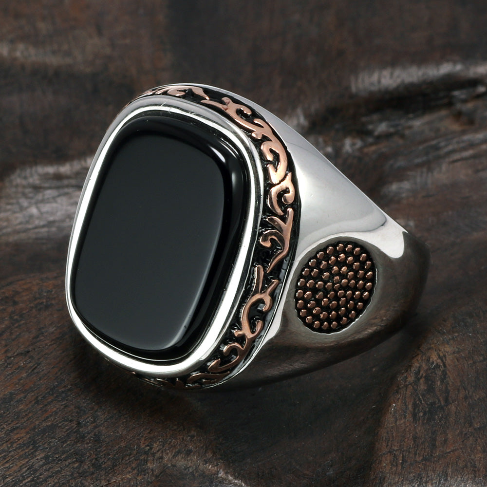 Men's Retro Vintage Turkish Silver With Onyx Setting Ring - 4LAUNT.COM