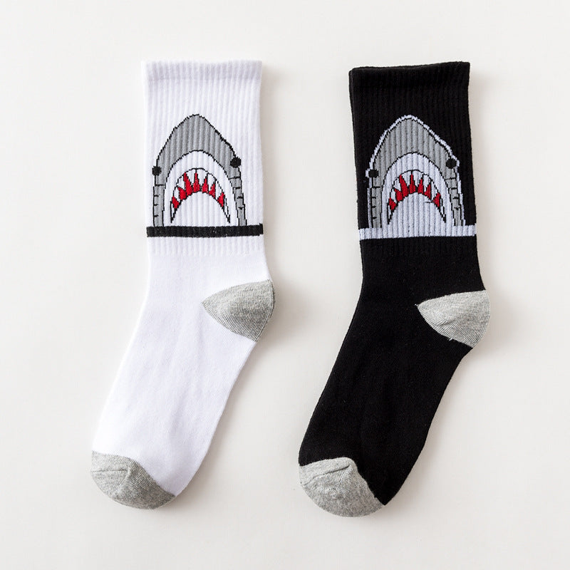 Cartoon Animal Shark Print Socks - 4LAUNT.COM