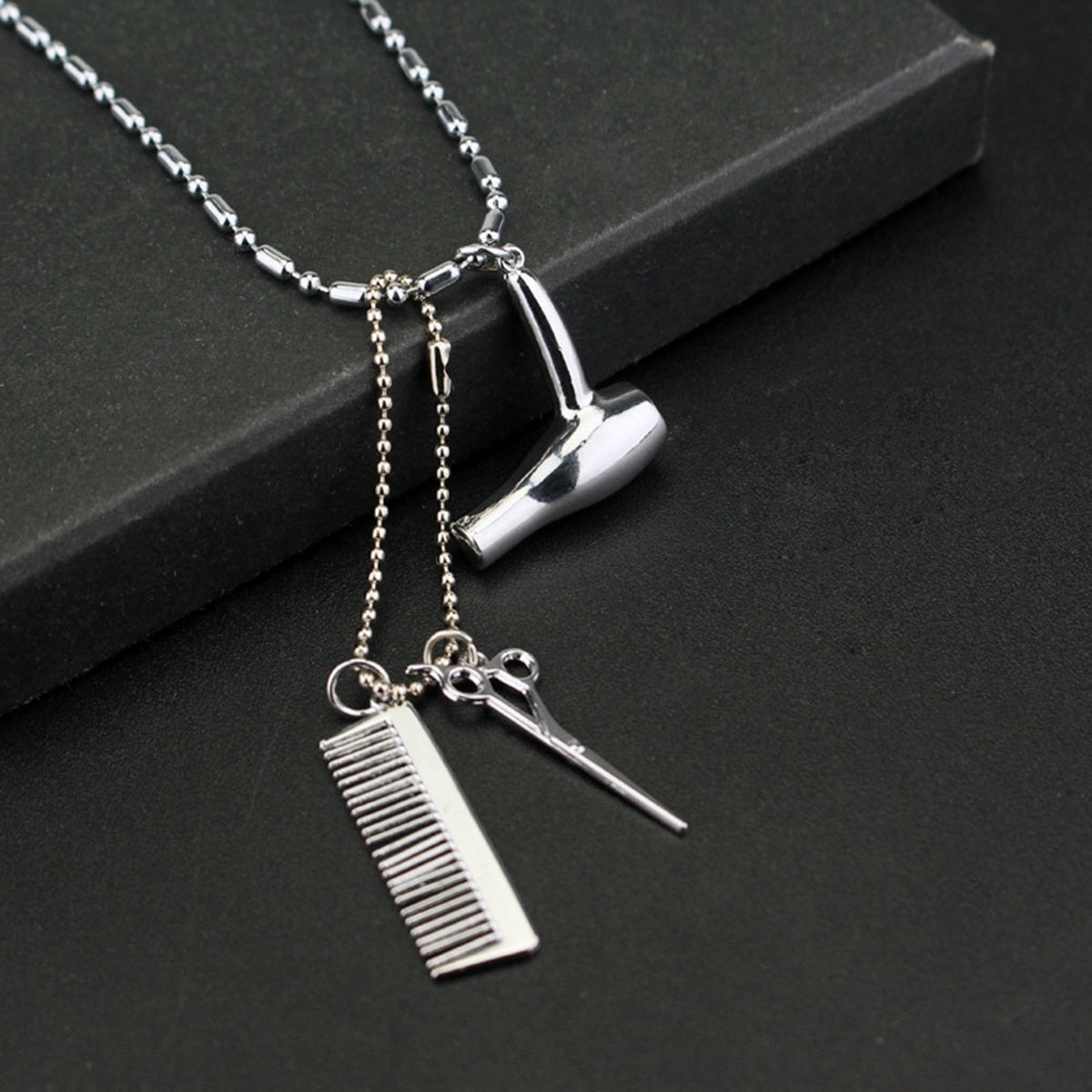 Woman's Punk Charm Silver Hair Stylist Necklace