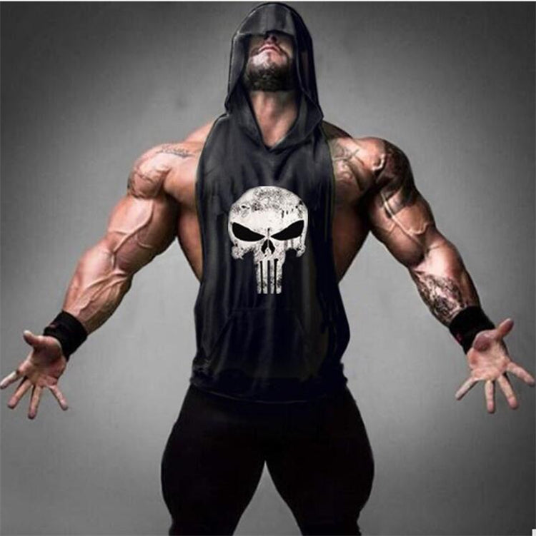 Punisher Bodybuilding Stringer Tank Top Hoodie - 4LAUNT.COM