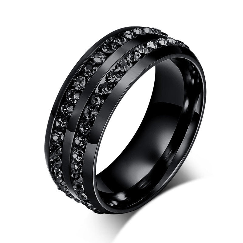 Woman's Black Crystal Ring