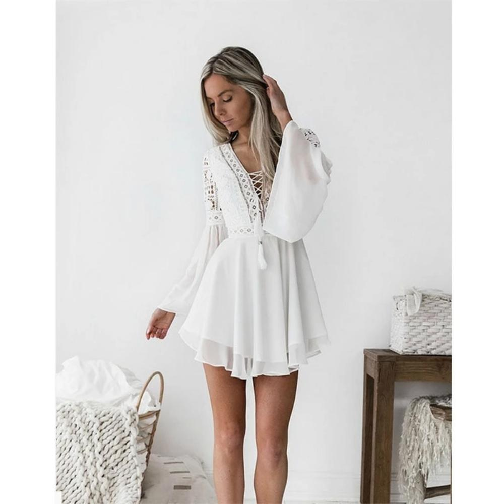 White Bohemian Mini Dress