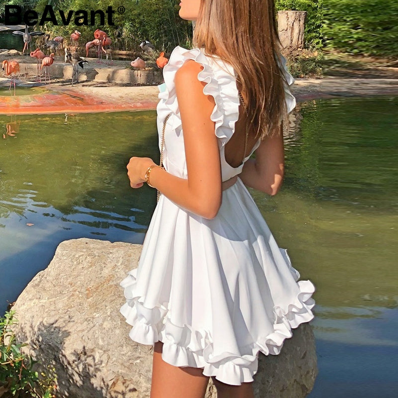 Summer Backless Ruffle Casual Pleated White Dress - 4LAUNT.COM