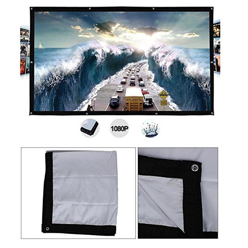 Portable HD 1080P 4:3 Projector Soft Screen Fold-able Matt - 4LAUNT.COM