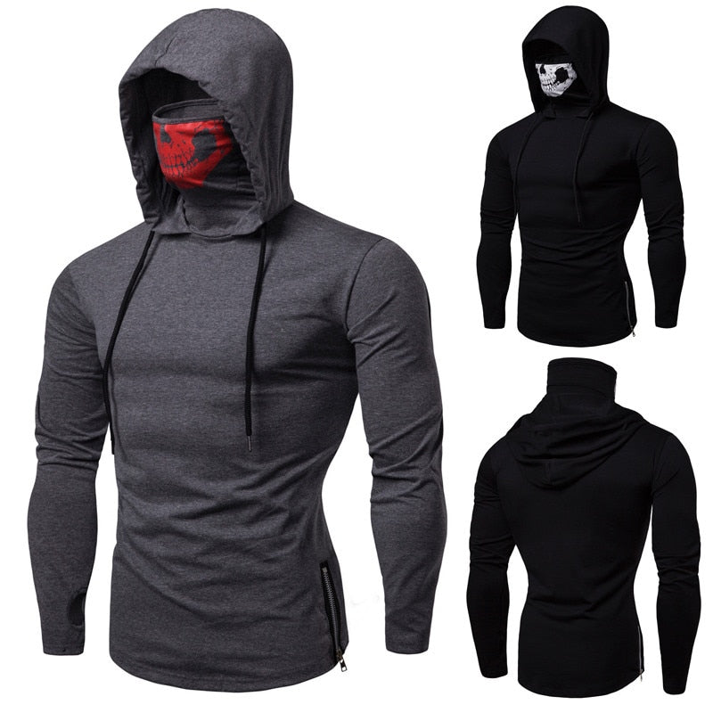Stretch Fitness Men's Hooded Ninja T-shirt/Sweater - 4LAUNT.COM