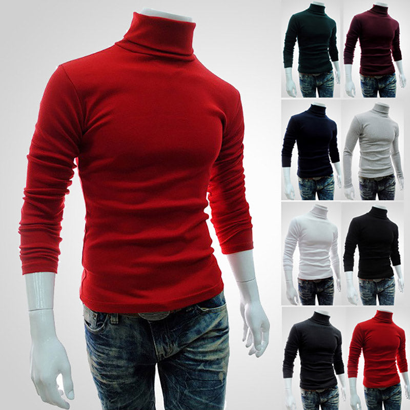 Men's Retro Slim Fit Turtleneck Sweater - 4LAUNT.COM