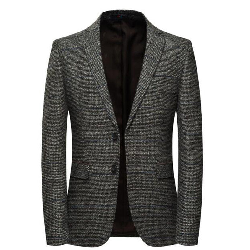 Men's Woolen Elbow Patch Blazer - 4LAUNT.COM