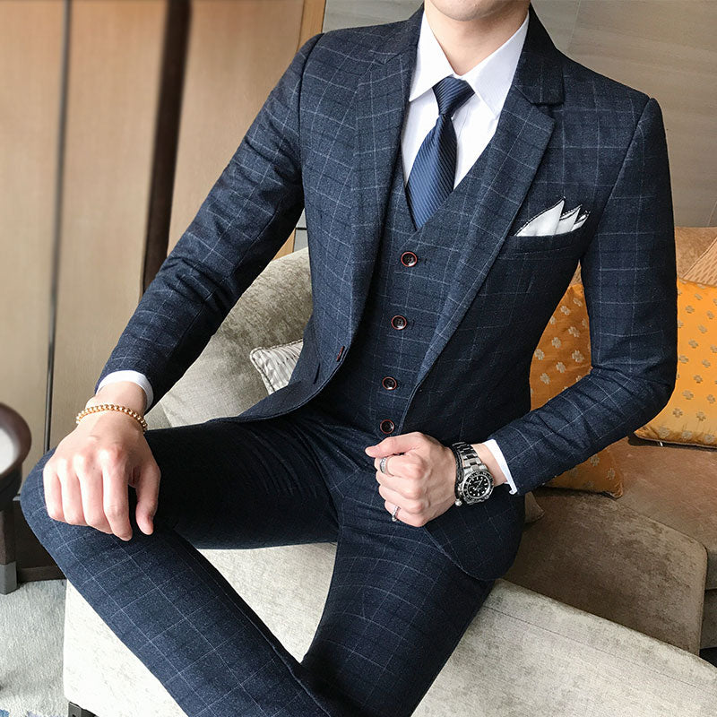Classic Designer 3 Piece Luxury Men's Cotton Suit - 4LAUNT.COM