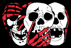 3 Skulls (w/red) by Becky Doyon
