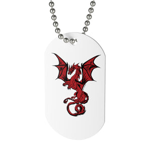 Red Dragon Dog Tag Necklace