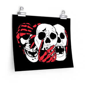 3 Skulls (With Red) Poster (Various Sizes)