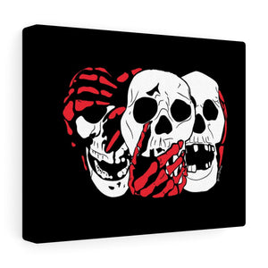 3 Skulls (With Red) Canvas Print (Various Sizes)