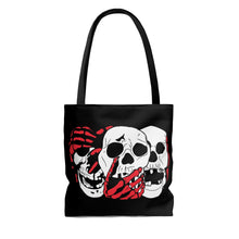 Load image into Gallery viewer, 3 Skulls (With Red) Tote Bag (Various Sizes)