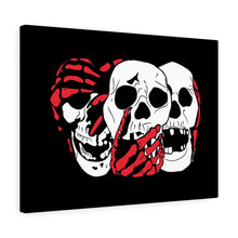 Load image into Gallery viewer, 3 Skulls (With Red) Canvas Print (Various Sizes)