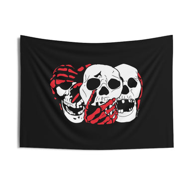 3 Skulls (With Red) Wall Tapestry (Various Sizes)
