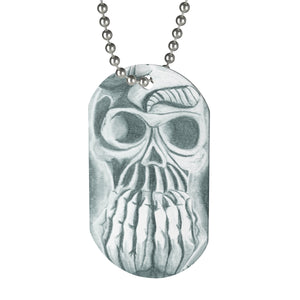 Skull in Hands Dog Tag Necklace