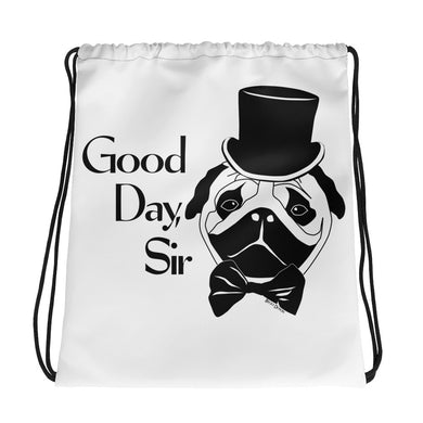 Good Day Pug Drawstring Bag
