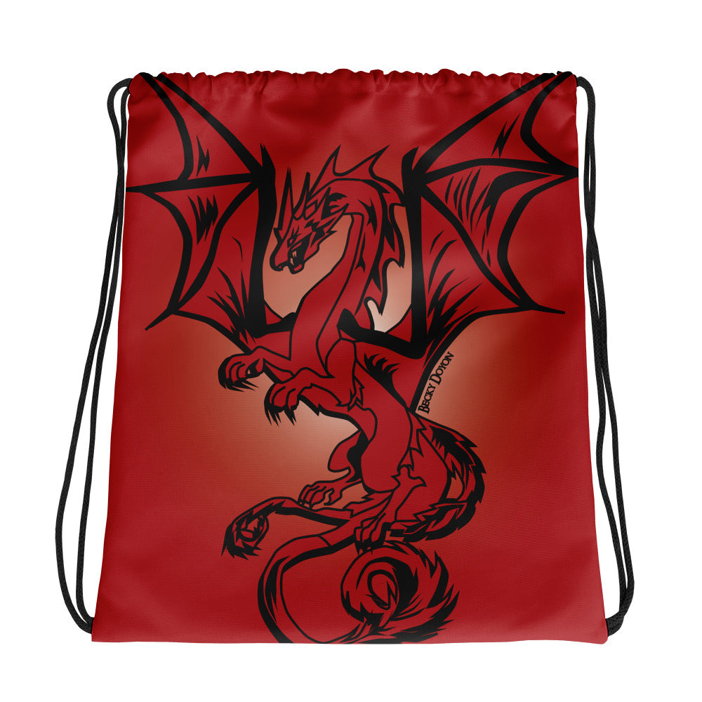 Red Dragon Drawstring Bag