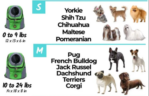 Terra Pet Pack Size Chart