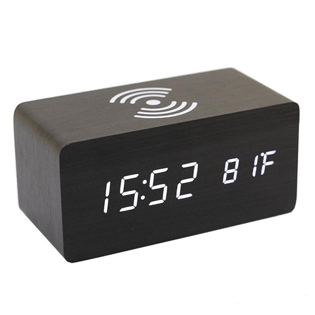 Wireless Charger Wooden Alarm Clock