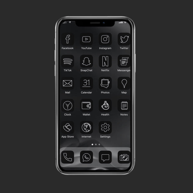 Black Minimal App Icons (45 Pack)