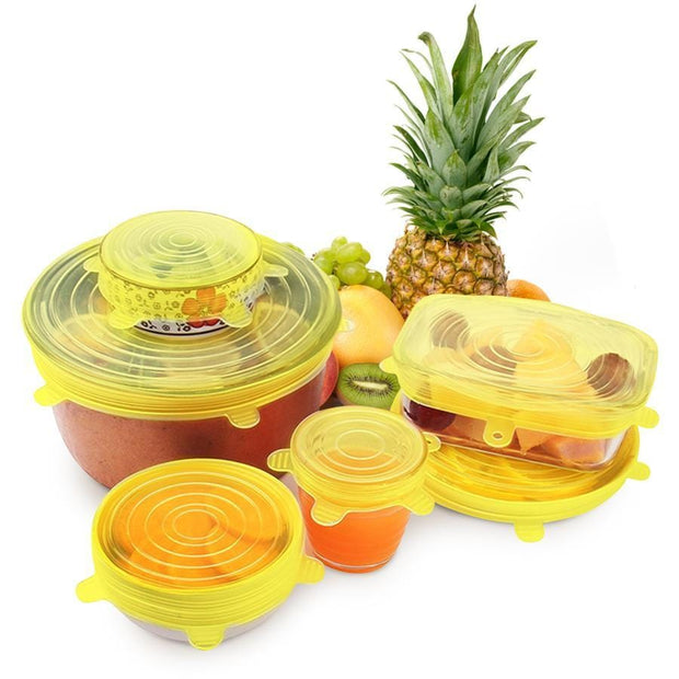 yellow silicon container lids