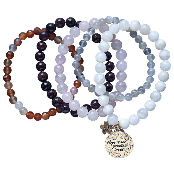 Hope & Fertility 5 Strand Gemstone Beaded Bracelet