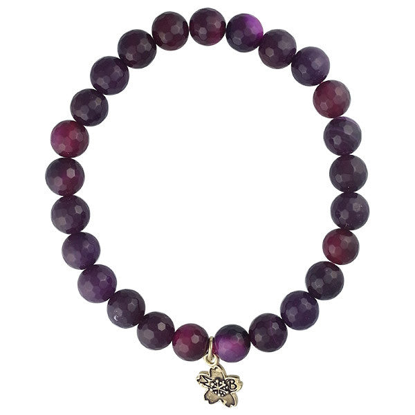 Fuchsia Fire Agate Beaded Stackable Bracelet