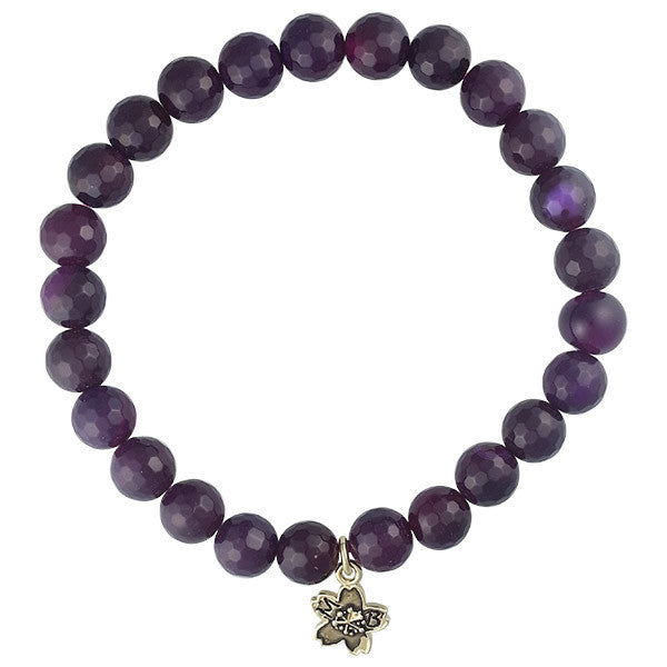Amethyst Fire Agate Beaded Stackable Bracelet