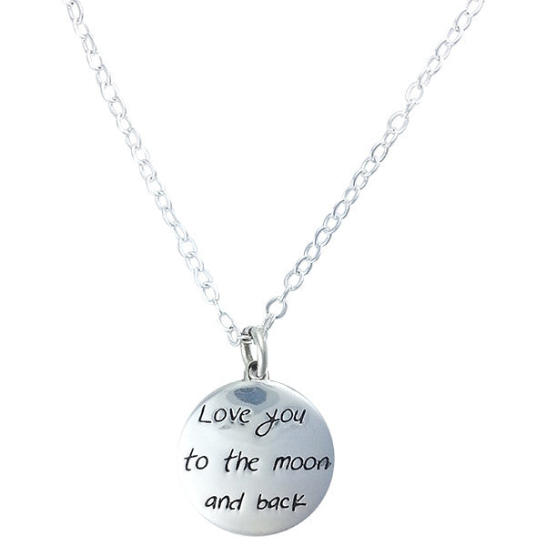 Love You to the Moon and Back Silver Pendant