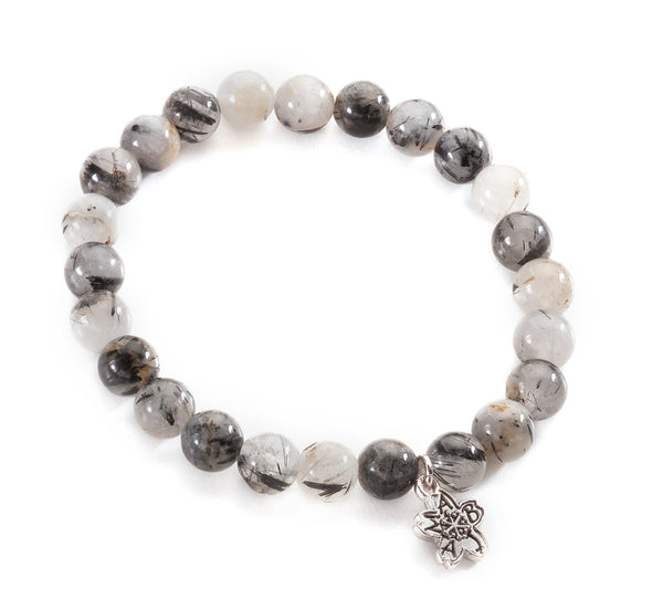 Black Rutile Quartz Beaded Stackable Bracelet