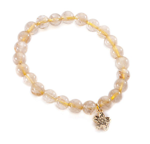 Gold Rutile Quartz Beaded Stackable Bracelet